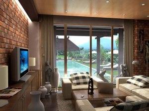 3d kamar tamu dengan kolam