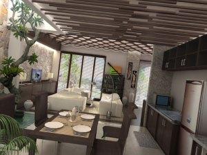 3d dapur dan kolam