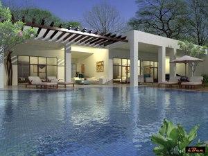 3d rumah modern dan kolam
